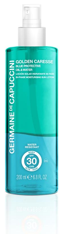 Germaine-de-Capuccini-Golden-Caresse-Blue-Protective-Oil-&-Water, erhältlich bei Sphinx Design Kosmetikstudio Simone Burghard in CH-8371 Busswil TG bei Wil
