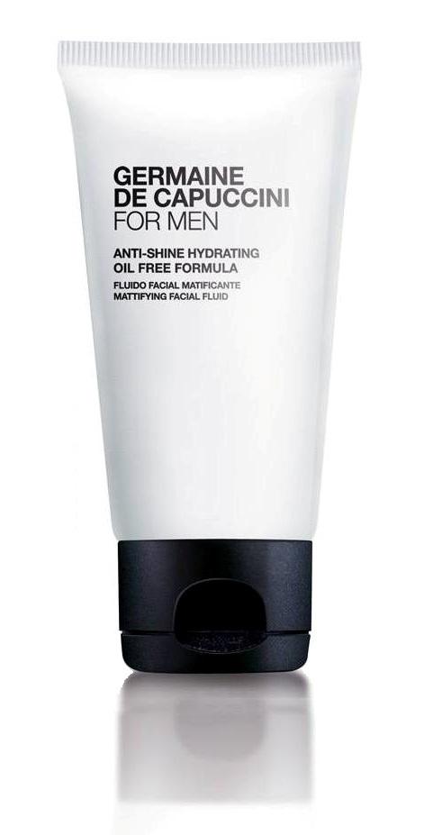 FOR MEN ANTI SHINE HYDRATING Gesichtsfluid von Germaine de Capuccini, Ölfreie 24h Pflege für fettige und glänzende Haut. Feuchtigkeitsspendendes, ultra-leichtes Gesichtsfluid, das leicht in die Haut einzieht, die Fettsekretion reguliert und ein mattiertes Hautbild verleiht. Zieht rasch in die Haut ein. Für fettige Haut. Empfohlen für fettige Haut. Exklusiv erhältlich bei Sphinx Design Kosmetikstudio Simone Burghard in CH-8371 Busswil bei Wil