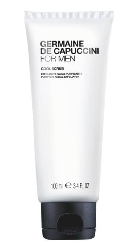 FOR MEN COOL SCRUB von Germaine de Capuccini. Kühles Gesichtspeeling für die Männerhaut, mit natürlichen Mikrokügelchen (aus 100% natürlichen Kieselsäure-Partikeln), die Hautunreinheiten beseitigen. Der erste wichtige Schritt für eine perfekte Rasur. Parfumfrei. Für jedes Alter und jeden Hauttyp geeignet. Germaine de Capuccini FOR MEN Pflegeprodukte erhältlich bei Ihrer Fachkosmetikerin Simone Burghard, Sphinx Design Kosmetikstudio, 8371 Busswil bei Wil