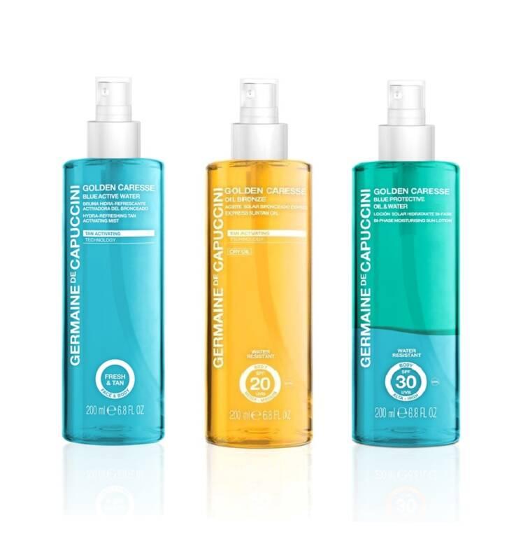 GOLDEN CARESSE - BLUE WATER SONNENSCHUTZ by Germaine de Capuccini. Erfrischende Sonnenkosmetik gegen die Hitze, mit Express Bräunungs-Effekt und Jeju-Vulkanwasser. Wasserfest und Parapenefrei, Dermatologisch getestet, geeignet bei Mallorca-Akne, ohne Emulgatoren. Schützen Sie Ihre Haut vor der Austrockung durch Sonne, Chlor und Salz und spenden Sie ihr Feuchtigkeit und Frische. Blue Water Sonnenschutz ist mit Jeju-Vulkanwasser angereichert, das einen unschätzbaren kosmetischen Wert besitzt. Die aussergewöhnliche Reinheit dieses Wassers und sein hoher Gehalt an Mineralien verleihen der Haut eine feuchtigkeits-spendende und antioxidierende Wirkung. Dadurch werden die Hautzellen vor freien Radikalen wie Hitze, direktes Sonnen-licht UV-Strahlung, Stress und Umwelteinflüsse geschützt. Blue Water Sonnenschutz bewahrt die Gesundheit und Jugend Ihrer Haut. 3 verschiedene Sonnenprodukte - BLUE ACTIVE WATER Hydro erfrischender Sprühnebel mit Bräunungsaktivierung 200 ml, OIL BRONZE SONNENÖL Express Bräune SPF 20 200 ml, BLUE PROTECTIVE OIL & WATER Feuchtigkeitsspendende Zweiphasen Sonnenlotion SPF 30 200 ml, exklusiv erhätlich bei Sphinx Design, Kosmetikstudio, Simone Burghard, 8371 Busswil bei Wil.